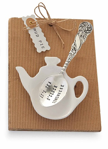 Mud Pie It's Tea O'clock Tea Pot Spoon and Rest Gift Set