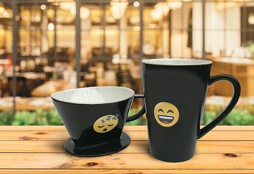 Emoji Coffee Pour Over Mug Set