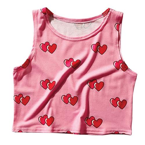Heart Pattern Cropped Tank Top