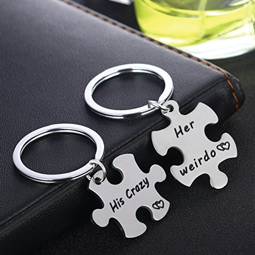 His Crazy Her Weirdo Couples Keychains Set