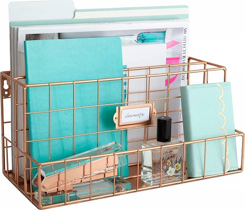 Blu Monaco Rose Gold Desk Organizer