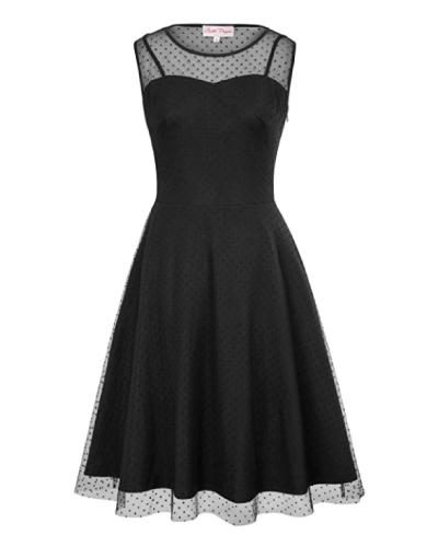 Belle Poque Retro Polka Dots A-Line Dress