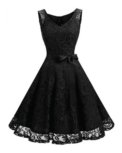 DressystarV Neck Lace Party Dress