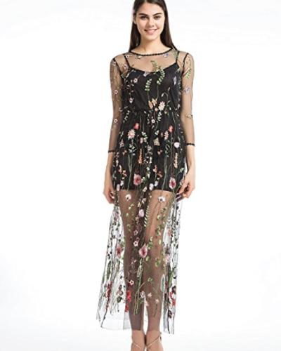 Black Floral Embroidered Mesh Dress