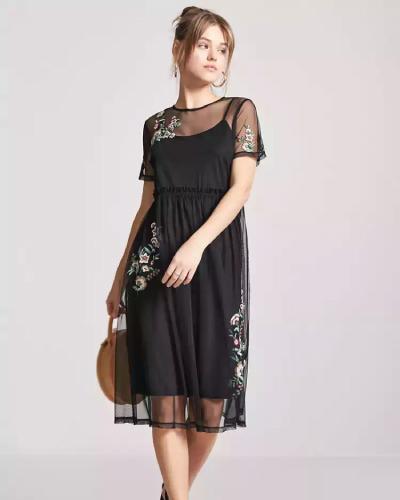 Forever 21 Embroidered Sheer Mesh Dress