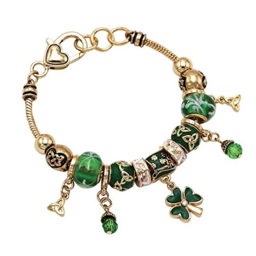 St Patrick's Day Beaded Charm Bracelet