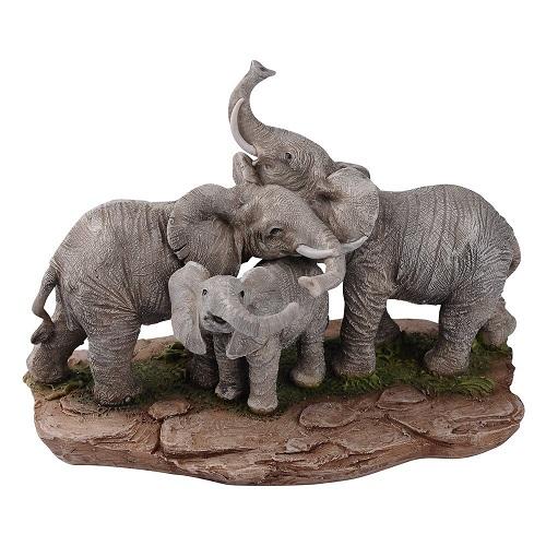 Elephant Family Hundle Figurine