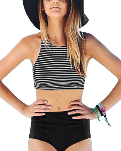 Black and White High Waisted Bathing Suits