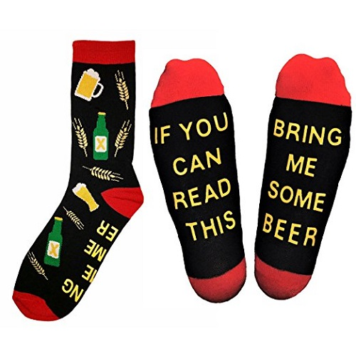 """If You Can Read This Bring Me Some Beer"" Novelty Socks"