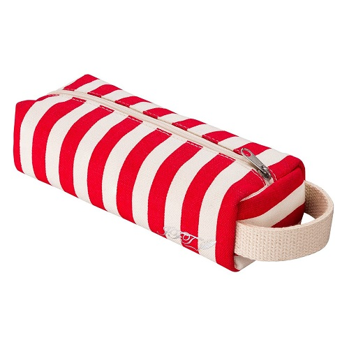 Red Nautical Stripes Pencil Case