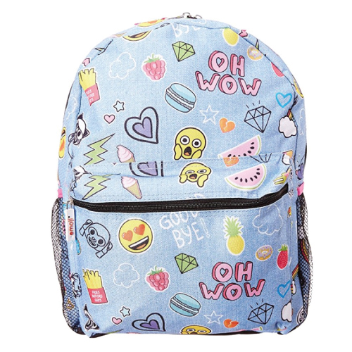 Emoji Denim Blue Backpack