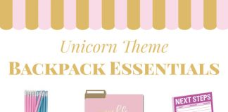 Back to school backpack essentials. Unicorn school supplies