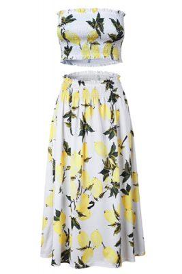 Angashion Lemon Floral 2 Piece Outfit Dress