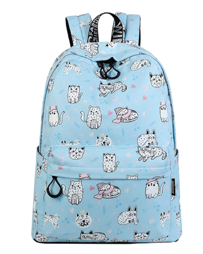 Mygreen Cat Pattern Canvas Backpack
