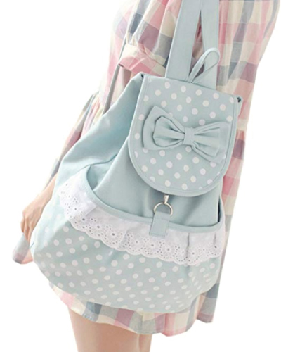 Kawaii Polka Dot Bow Bookbag