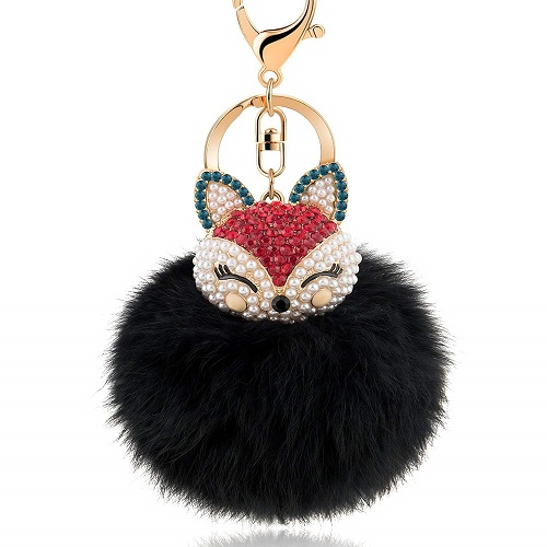 Fox Head Pompom Keychain