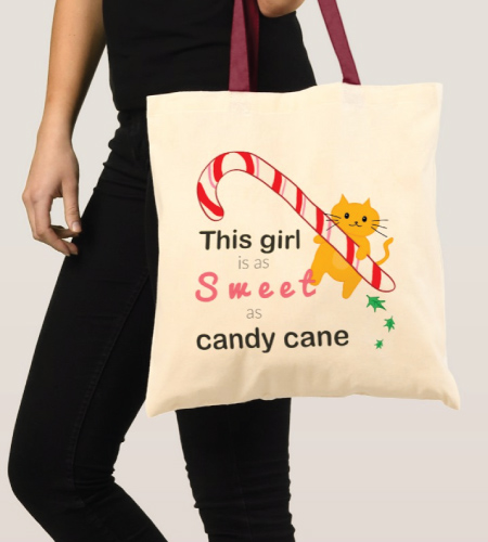 Candy Cane Cat Tote Bag
