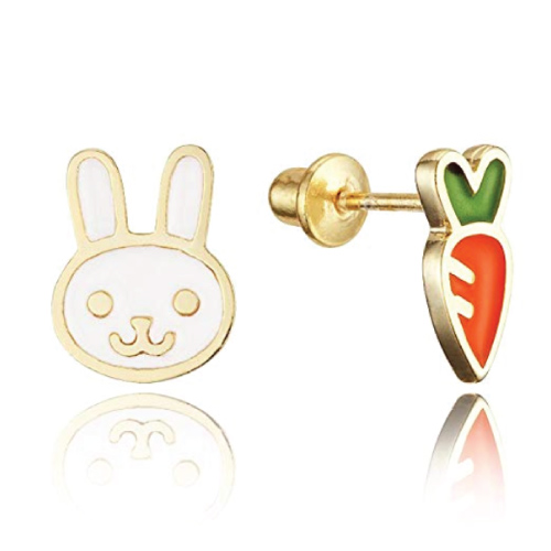 Enamel Rabbit Carrot Earrings