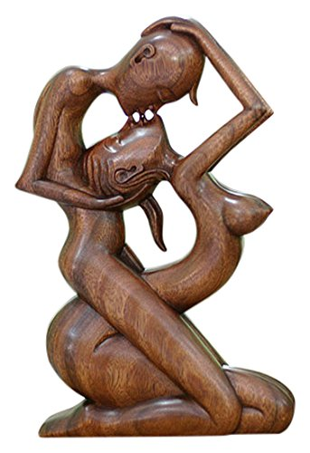 NOVICA Romantic Suar Wood Sculpture