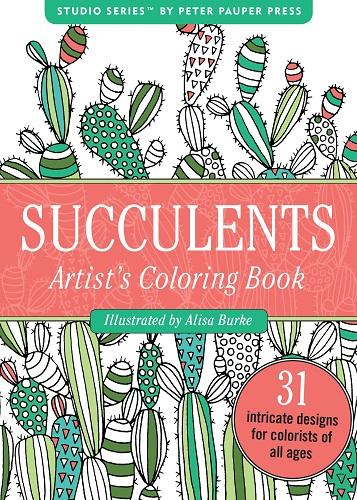 Succulents Portable Adult Coloring Book