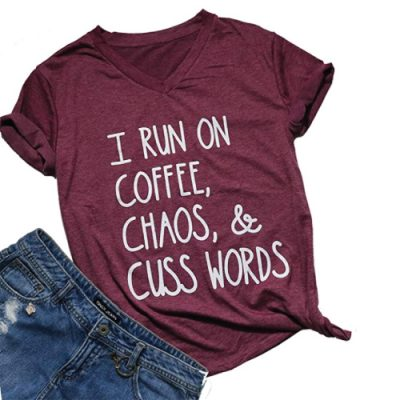 Coffee Chaos Cuss Words T-Shirt