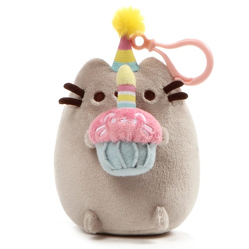 GUND Pusheen Birthday Cupcake Plush Backpack Clip