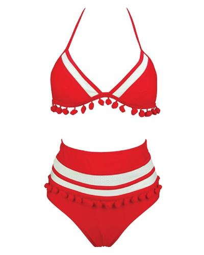 COCOSHIP Mesh Striped Tassel High Waist Bikini Set