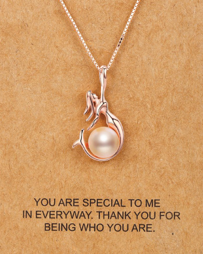 Freshwater Cultured Pearl and Mermaid Pendant Necklace