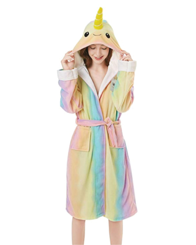 narwhal-lover-gifts Adult Narwhal Robe