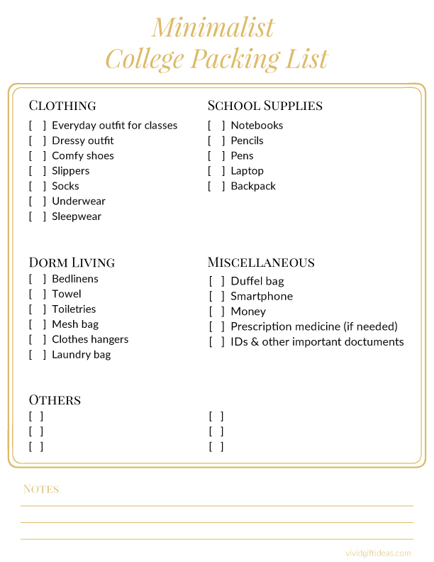 Minimalist College Packing List for Guys and Girls