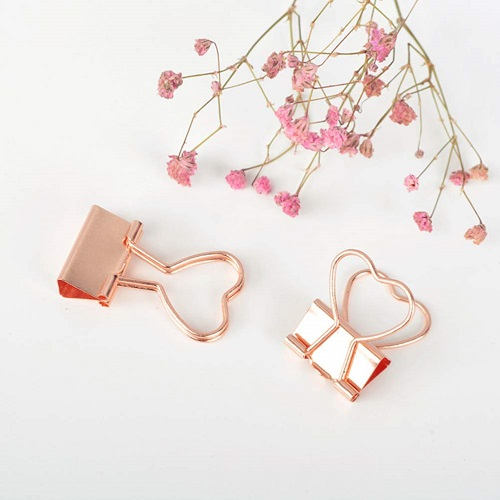 TOYMYTOY Rose Gold Heart-Shaped Binder Clips