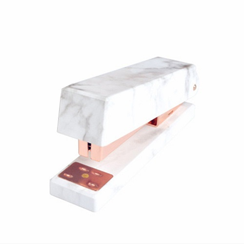 White Marble Rose Gold Stapler - Rose Gold Office Supplies
