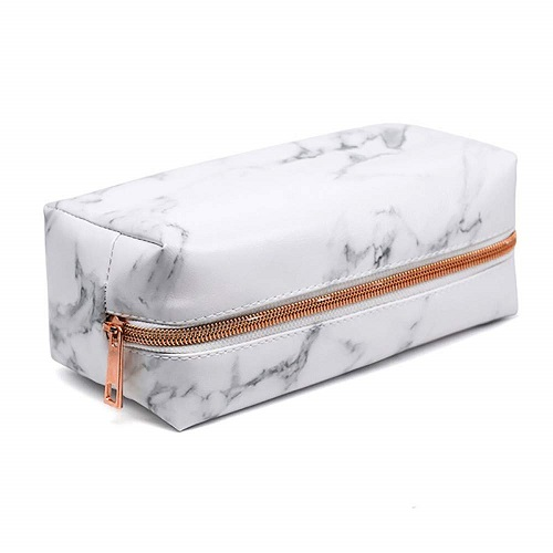 White Marble Pencil Case - Rose Gold Office Supplies