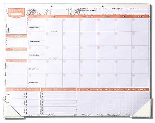 Deluxe Monthly Desk Calendar - Rose Gold Office Supplies