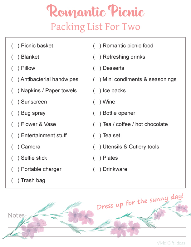 Romantic Picnic Packing List Printable