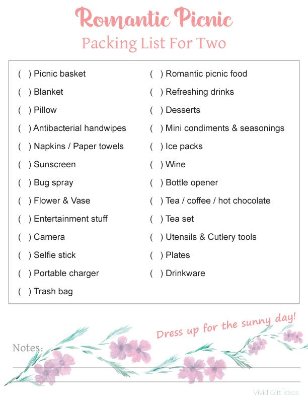 Romantic Picnic Packing List Printable