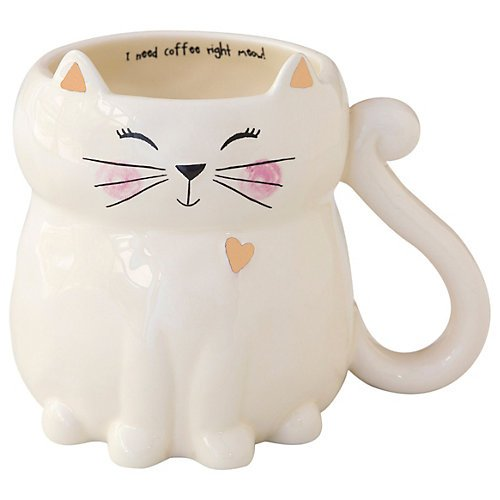 Hand Sculpted White Cat Mug | Cat Lover Mugs