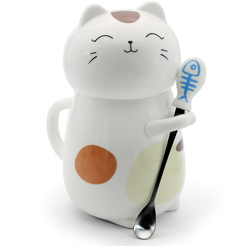 3D Cat Mug with Stirring Spoon and Lid | Cat Coffee Mugs