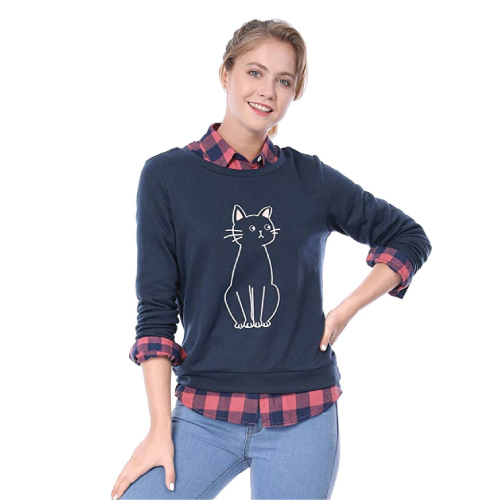 Allegra K Women's Round Neck Cat Printed Sweatshirt