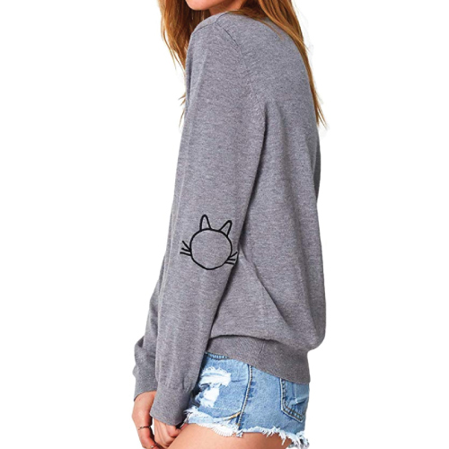 CUPSHE Cat Embroidered Pullover Sweatshirt