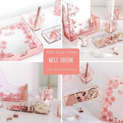 Miss Greene's Floral Rose Gold Desk Organizer Set