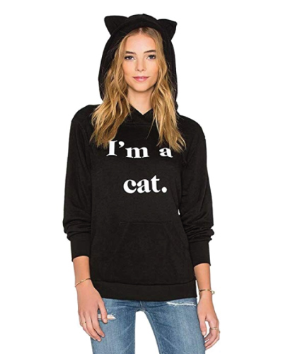 Black Cat Hoodie with Ears