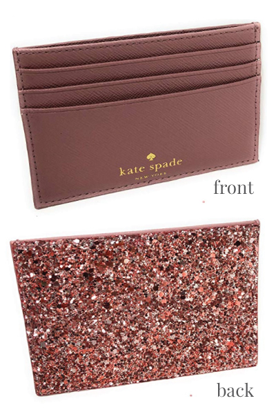 Kate Spade Graham Greta Court Card Case in Glitter Dusty Peony