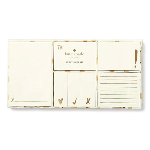 Kate Spade Flamingo Dot Gold Sticky Note Set