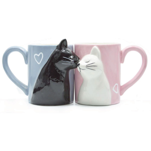 Kissing Cat Couple Mug Set | Cat Coffee Mugs