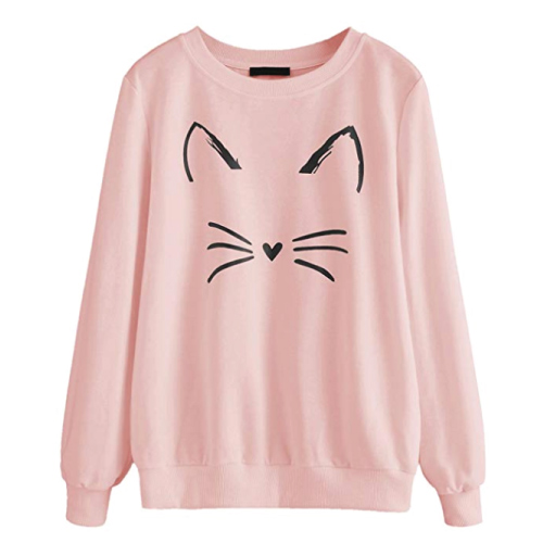 Romwe Cat Print Sweatshirt