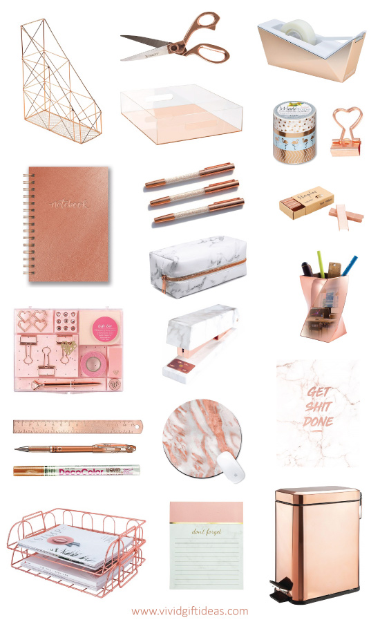 Rose Gold Office Supplies and Desk Accessories