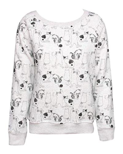 Sidecca Cat Pattern Pullover Sweatshirt