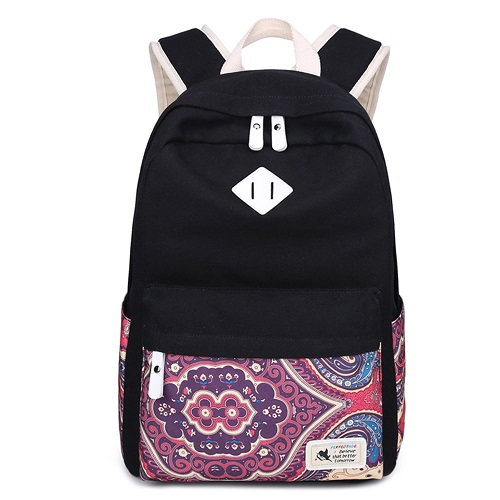 Black Seawaves Canvas Daypack - Fashionable Bag