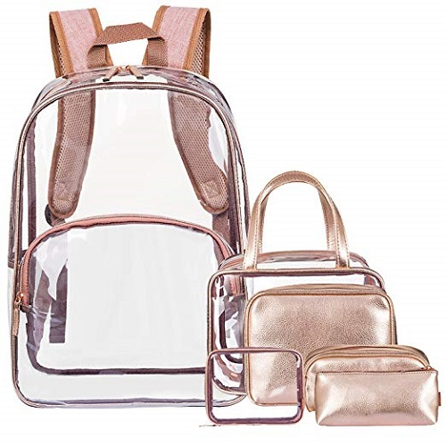 Cute 6 in 1 Clear Backpack with Cosmetic Bag & Case